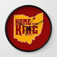 lebron Wall Clocks featuring Home of the King (Red) by Denise Zavagno