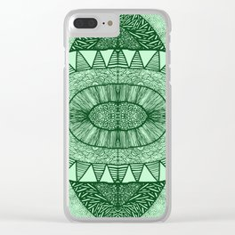 Grassy Green Tangled Mania Pattern Doodle Design Clear iPhone Case