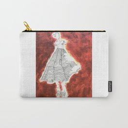Gesture Lady in Dress, Red Carry-All Pouch