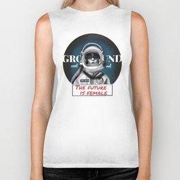 The Future is female space astronaut girl Biker Tank