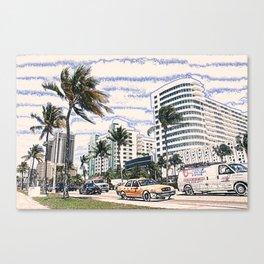 Taxi Miami Beach Florida ArtWork Painting Canvas Print