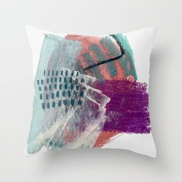 Pheonix: a bright abstractmixed media piece in pink, purple, blue, and white Throw Pillow