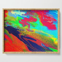 Abstract glitter art landscape painting Serving Tray