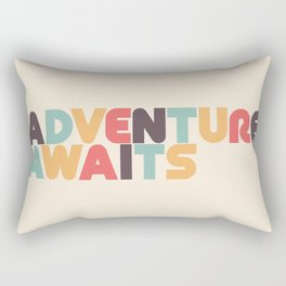 Adventure Awaits - Retro Rainbow Rectangular Pillow