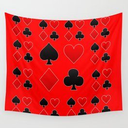 RED & BLACK PLAYING CARD ART ON RED Wall Tapestry