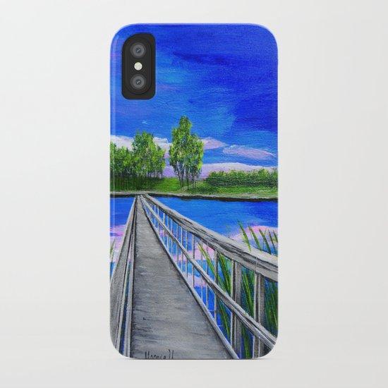 Walking bridge on the lake  iPhone Case