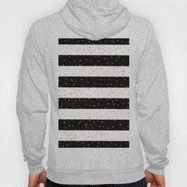 Black white gold faux glitter stripes polka dots  Hoody