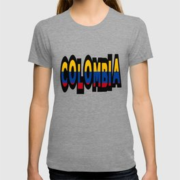 Colombia Font With Colombian Flag T-shirt
