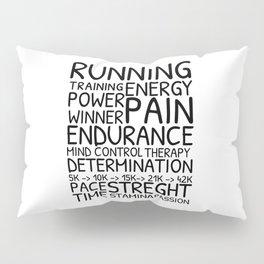 Running word cloud, training motivation Pillow Sham