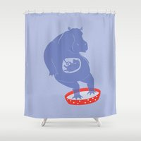 hippo Shower Curtains featuring Hippo Illustration by Michaela Stavova