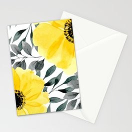 Big yellow watercolor flowers Stationery Cards