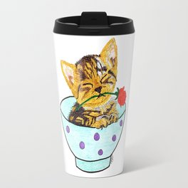 Kitten with a rose in a bowl Travel Mug