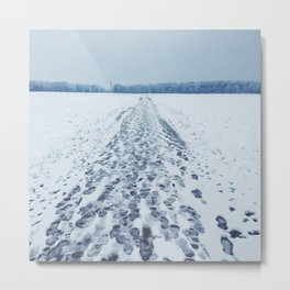 Snow Footprints Metal Print