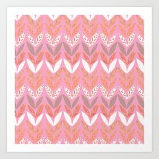 Zigzag Leaves Beautiful In Pink Art Print