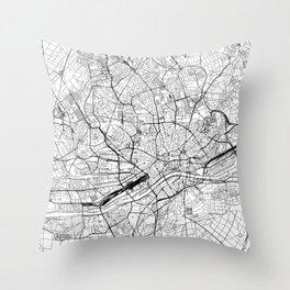 Frankfurt White Map Throw Pillow