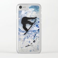 Snowboarder In Flight Clear iPhone Case