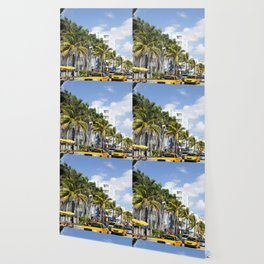 Yellow Cabs On Ocean Drive Wallpaper