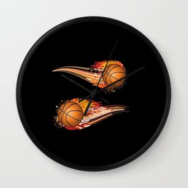 Basketball Fire Wall Clock