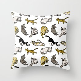 Stretchy cats Throw Pillow