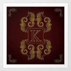 letter K seahorse monogram Art Print