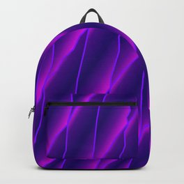 Slanting repetitive lines and rhombuses on luminous violet with intersection of glare. Backpack