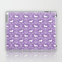 Corgi silhouette florals dog pattern purple and white minimal corgis welsh corgi pattern Laptop & iPad Skin