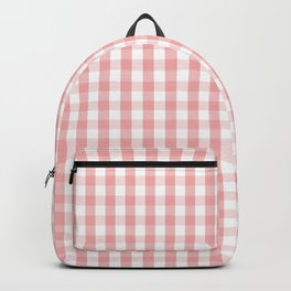 Large Lush Blush Pink and White Gingham Check Backpack
