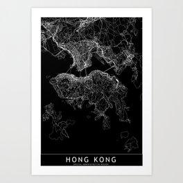 Hong Kong Black Map Art Print
