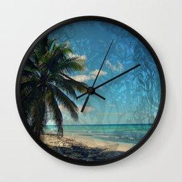 Caribbean Blue digital Artwork Isla Saona Tribute Wall Clock