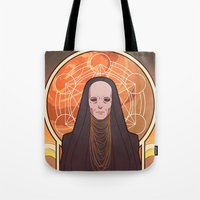 heymonster Tote Bags featuring Reverend Mother by heymonster