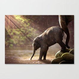Baby Elephant & Mama at Watering Hole Canvas Print