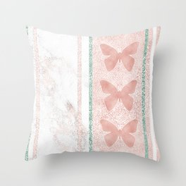 Snow White Peach Butterfly Abstract Pattern Throw Pillow