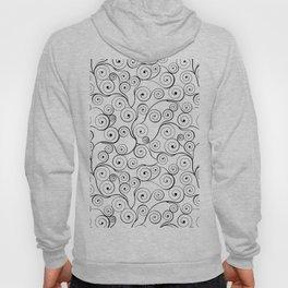 Abstract black white hand drawn swirls pattern Hoody