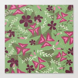 Purple Shamrock Floral Layered Pattern / Green Canvas Print