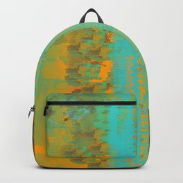 Abstract in Aqua and Copper Backpack