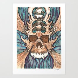 Biomechanical Skull 1 Art Print
