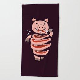 Gluttonous Cannibal Pig Beach Towel