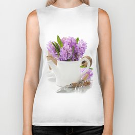 Beautiful Hyacinths in vase and garden tools Biker Tank