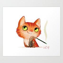 tattooed cat Art Print