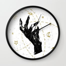 Black witch`s hand with cosmos illustration on white textured ba Wall Clock
