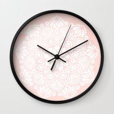 Mandala Mermaid Sea Pink by Nature Magick Wall Clock