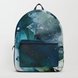 Untamed [2]: a vibrant minimal abstract design in blue gold and white by Alyssa Hamilton Art Backpack