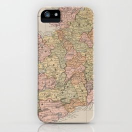 Vintage Map of Ireland (1883) iPhone Case