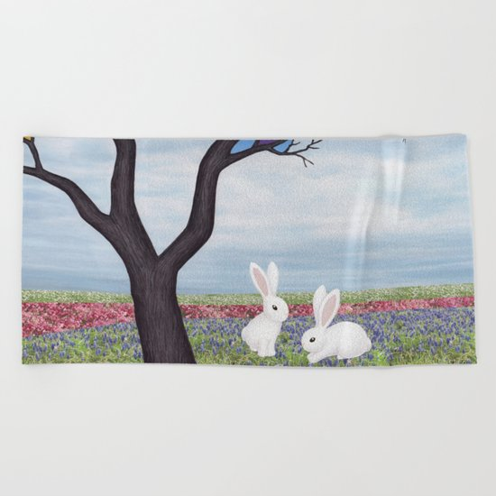 bunnies and the stained glass tree Beach Towel