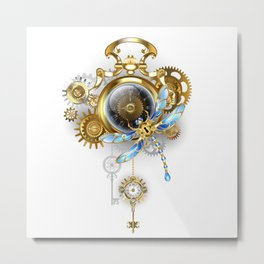 Steampunk Clock with Mechanical Dragonfly Metal Print