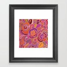 Rose fragments, pink, purple and orange Framed Art Print