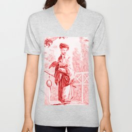 Chinoiserie Toile in Red Unisex V-Neck