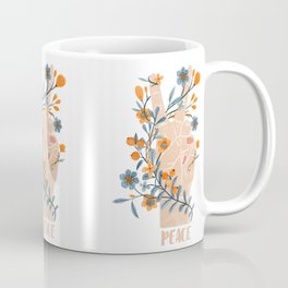Peace Sign With Orange Flowers, Blue Flowers And Vines Coffee Mug
