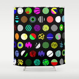 Eclectic Circles - Abstract collage of random, colourful, bold, eclectic circles Shower Curtain