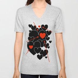 Three Red Hearts Unisex V-Neck